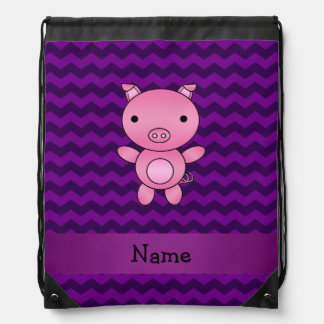 Personalized name cute pig purple chevrons drawstring bags