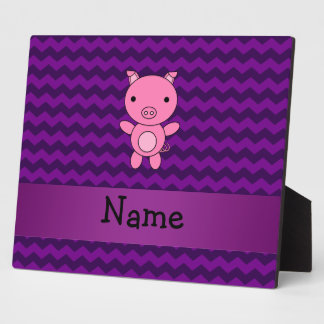 Personalized name cute pig purple chevrons plaques