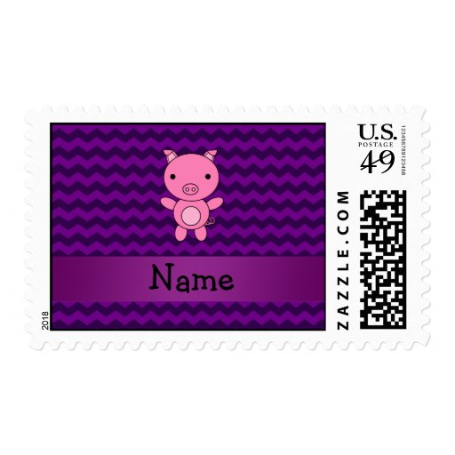 Personalized name cute pig purple chevrons stamps