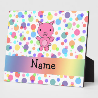 Personalized name cute pig rainbow stripes display plaques