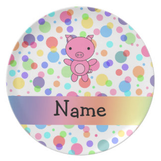 Personalized name cute pig rainbow stripes plates