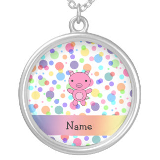 Personalized name cute pig rainbow stripes silver plated necklace