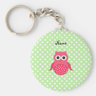 Personalized name cute pink owl key chains