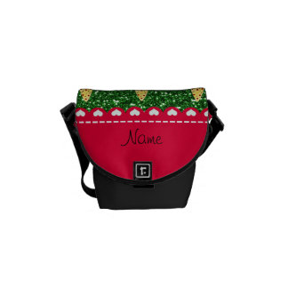 Personalized name cute pizza green glitter messenger bag