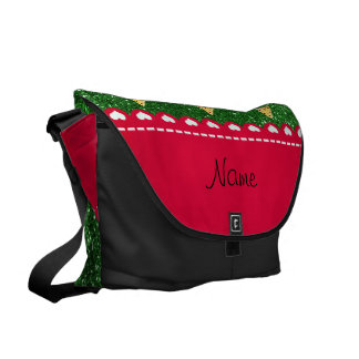 Personalized name cute pizza green glitter messenger bags