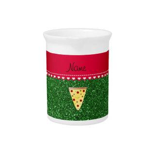 Personalized name cute pizza green glitter beverage pitcher
