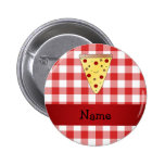 Personalized name cute pizza red checkered 2 inch round button
