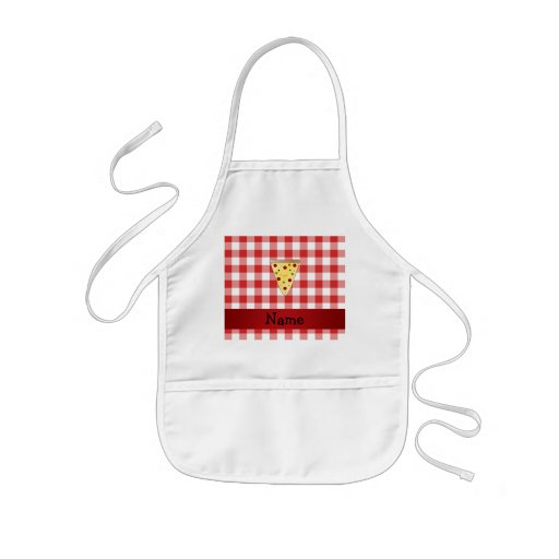 Personalized name cute pizza red checkered aprons