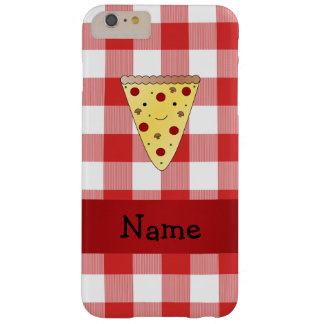 Personalized name cute pizza red checkered barely there iPhone 6 plus case