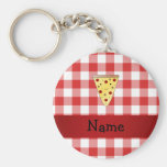 Personalized name cute pizza red checkered basic round button keychain