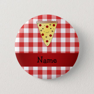 Personalized name cute pizza red checkered button