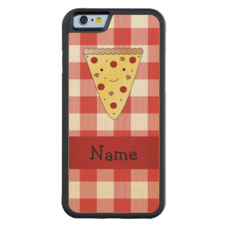 Personalized name cute pizza red checkered carved maple iPhone 6 bumper case