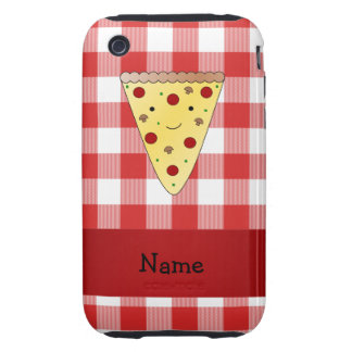 Personalized name cute pizza red checkered tough iPhone 3 covers