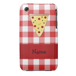 Personalized name cute pizza red checkered Case-Mate iPhone 3 case