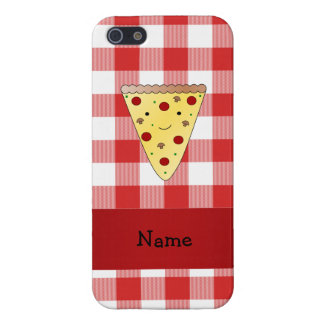 Personalized name cute pizza red checkered case for iPhone 5