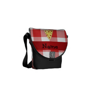 Personalized name cute pizza red checkered courier bags