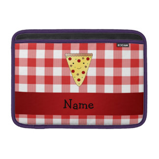 Personalized name cute pizza red checkered MacBook air sleeves