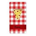 Personalized name cute pizza red checkered custom shipping label