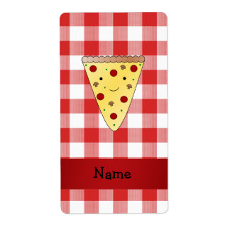 Personalized name cute pizza red checkered label