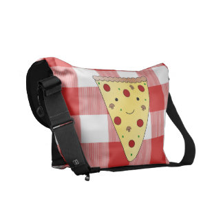 Personalized name cute pizza red checkered messenger bag