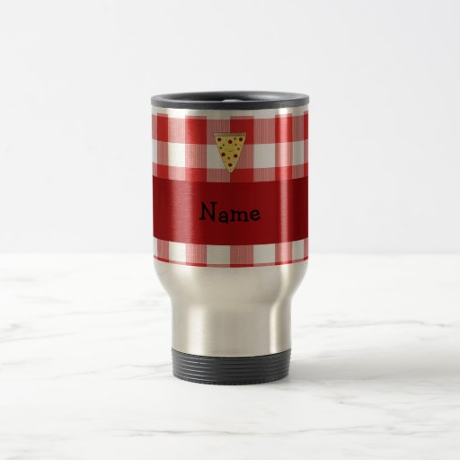 Personalized name cute pizza red checkered coffee mugs
