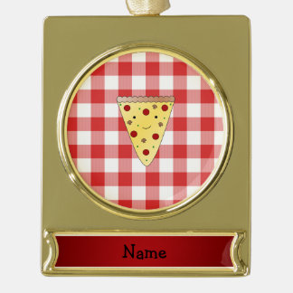 Personalized name cute pizza red checkered gold plated banner ornament