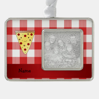 Personalized name cute pizza red checkered silver plated framed ornament