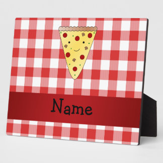 Personalized name cute pizza red checkered plaque