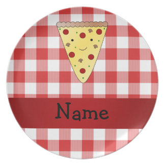 Personalized name cute pizza red checkered plate