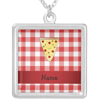 Personalized name cute pizza red checkered silver plated necklace