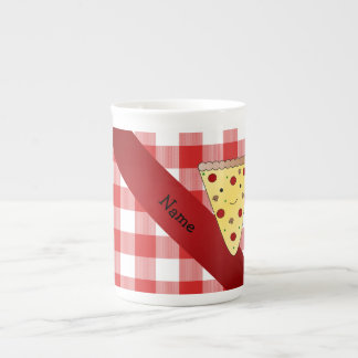 Personalized name cute pizza red checkered bone china mugs