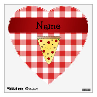 Personalized name cute pizza red checkered room decal