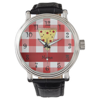 Personalized name cute pizza red checkered wristwatch
