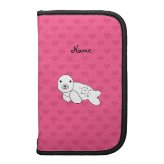 Personalized name cute seal pup pink hearts folio planner
