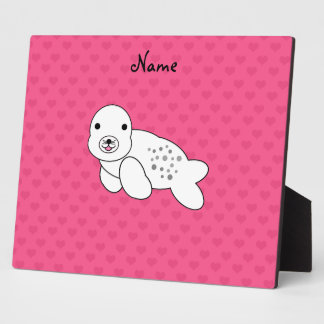 Personalized name cute seal pup pink hearts display plaque