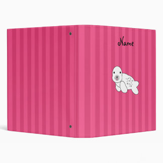 Personalized name cute seal pup pink stripes binders