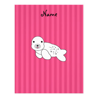 Personalized name cute seal pup pink stripes custom letterhead