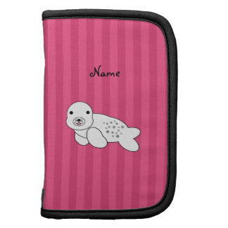 Personalized name cute seal pup pink stripes planners
