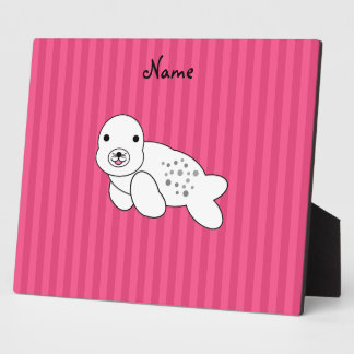 Personalized name cute seal pup pink stripes plaque