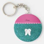 Personalized name cute tooth aqua glitter basic round button keychain
