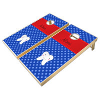 Personalized name cute tooth blue polka dots cornhole set