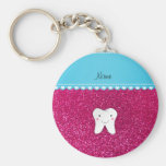 Personalized name cute tooth pink glitter basic round button keychain