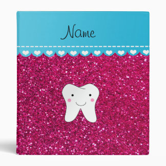 Personalized name cute tooth pink glitter binders