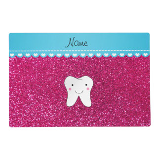 Personalized name cute tooth pink glitter laminated placemat
