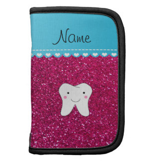 Personalized name cute tooth pink glitter organizer