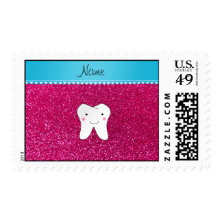Personalized name cute tooth pink glitter postage stamps