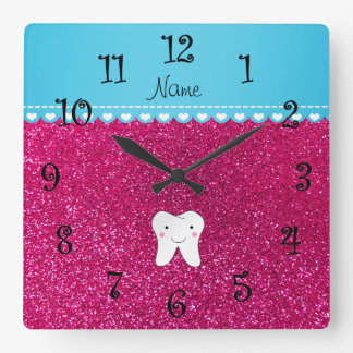 Personalized name cute tooth pink glitter square wall clock