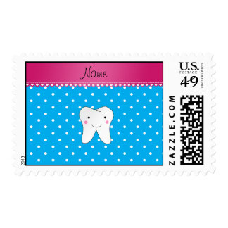 Personalized name cute tooth sky blue dots postage