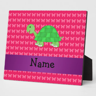 Personalized name cute turtle pink butterflies photo plaque