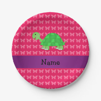 Personalized name cute turtle pink butterflies 7 inch paper plate